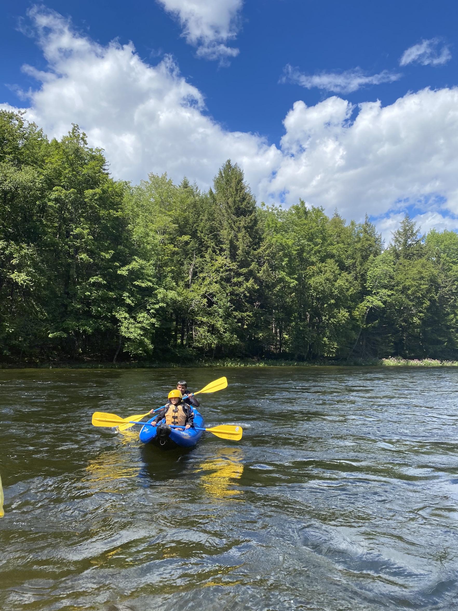 kids kayaking in Maine