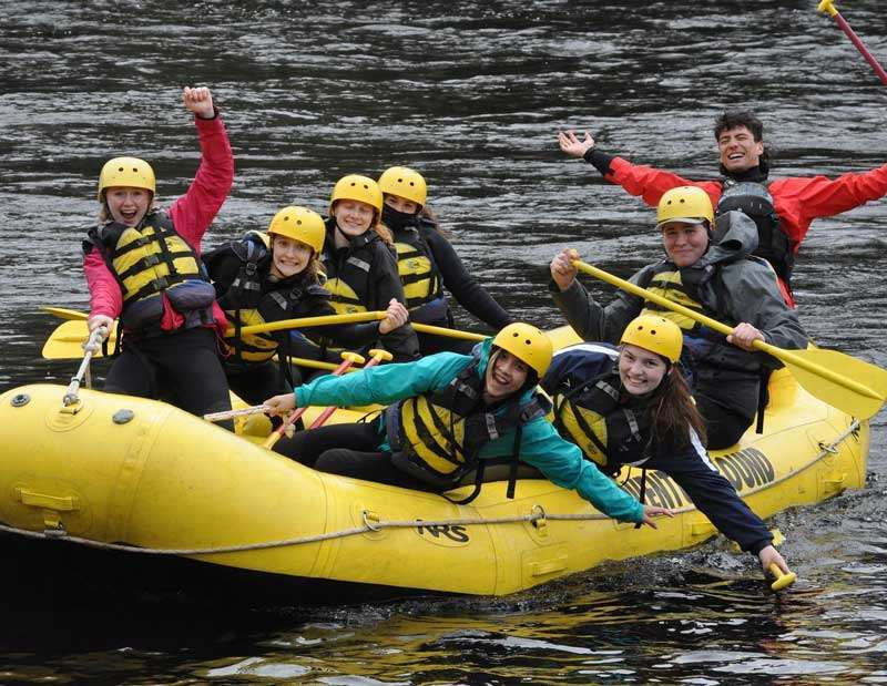 Kids rafting the Kennebec river